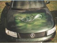 аэрография на зеленомькапоте VW