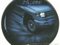 Рисунок аэрографом на чехле запасного колеса Mitsubishi Pajero