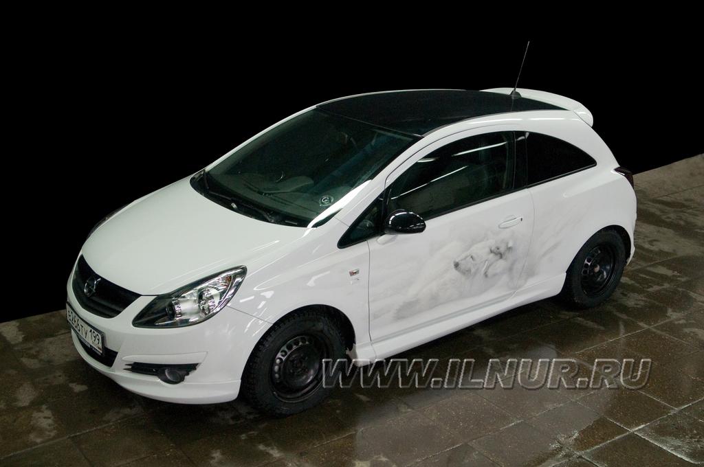 Аэрография на белых авто фото