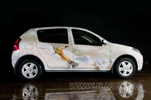 «Сноубордическая тема» аэрография на Renault Sandero  2010 г.