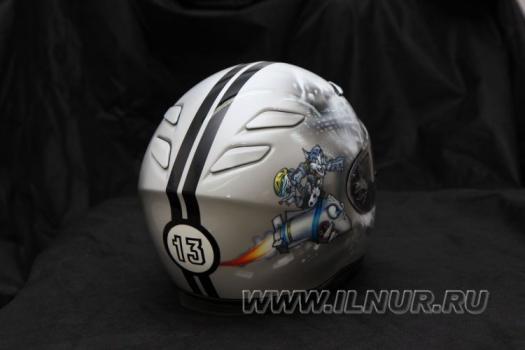 Аэрография шлема «Кот на ракете» 2013 г.