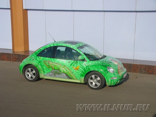 аэрография на зеленом VW Жук