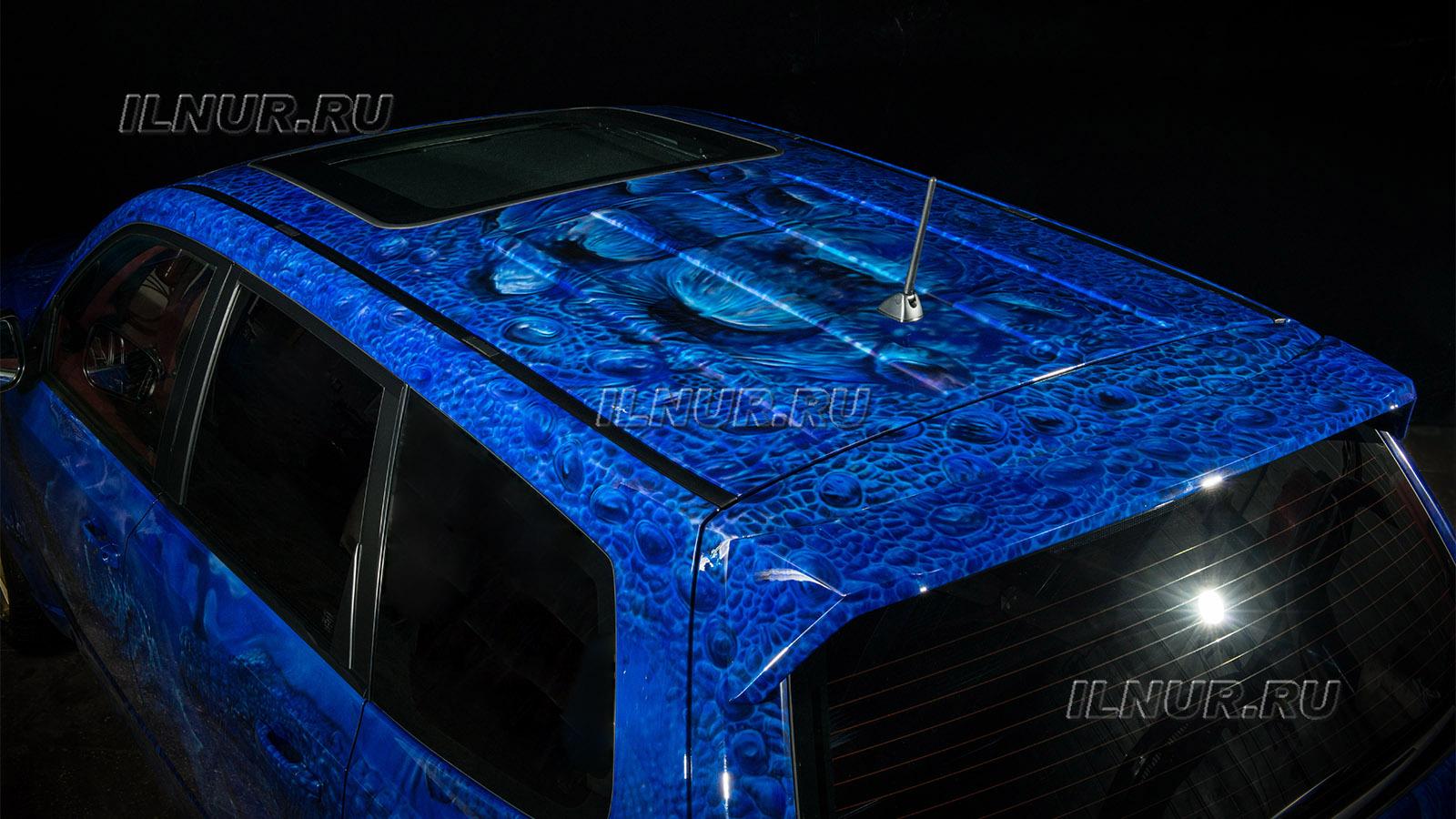 аэрография на синем авто Subaru Forester tS