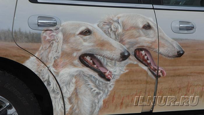 аэрография портрет собак русские борзые