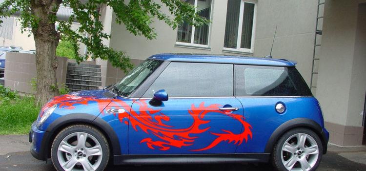 «Красный дракон» аэрография на Mini Cooper 2005 г.