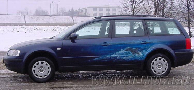 «Сибирский дельфин» аэрография на VW Passat 2000 г.