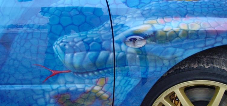 «4 змеи» аэрография на Subaru Impreza STI  2005 г.